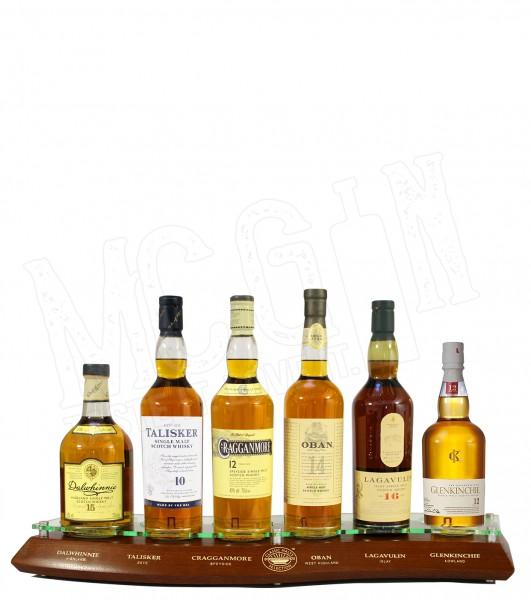 Malt Plinth - Classic Malts Selection - 6 Whisky Flaschen auf Echtholz-Sockel